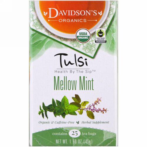 Davidson's Tea, Tulsi, Organic Mellow Mint, 25 Tea Bags, 1.58 oz (45 g) (Discontinued Item)