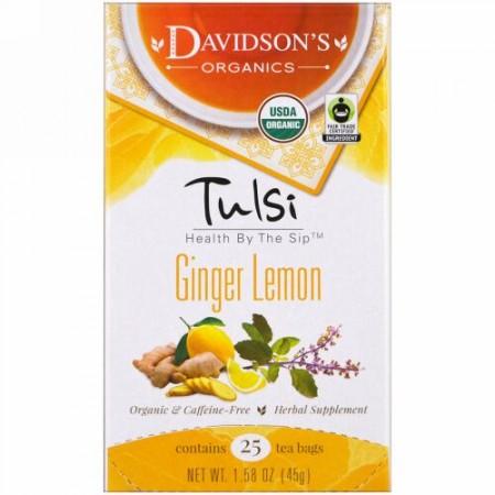 Davidson's Tea, トゥルシー、オーガニックジンジャーレモンティー、カフェインフリー、 25ティーバッグ、1.58オンス (45 g) (Discontinued Item)