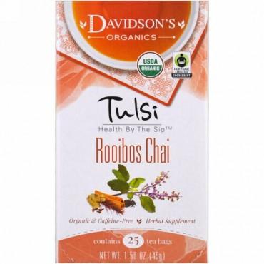 Davidson's Tea, Tulsi, Organic, Rooibos Chai, Caffeine-Free, 25 Tea Bags, 1.58 oz (45 g) (Discontinued Item)