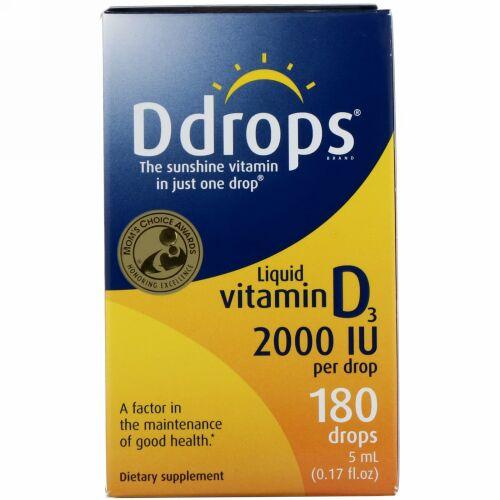 Ddrops, 液体 ビタミンD3、 2000 IU、 0.17液量オンス (5 ml)