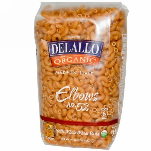 DeLallo, エルボーNo. 52, 100%オーガニックの全粒小麦パスタ、16 oz (454 g) (Discontinued Item)