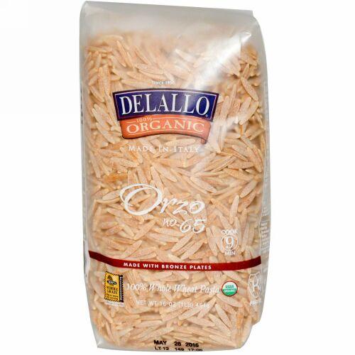 DeLallo, Orzo No. 65, 100%オーガニック全粒小麦パスタ, 454 g (Discontinued Item)