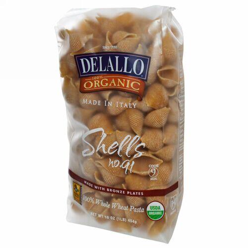 DeLallo, Shells No. 91, 100%オーガニック全粒小麦パスタ, 454 g (Discontinued Item)