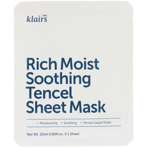 Dear, Klairs, Rich Moist Soothing Tencel Sheet Mask, 1 Sheet, 0.85 fl oz (25 ml)