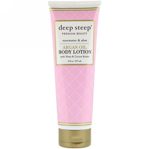 Deep Steep, Argan Oil Body Lotion, Rosewater & Aloe, 8 fl oz (237 ml) (Discontinued Item)