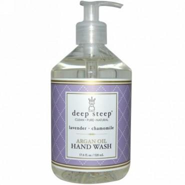 Deep Steep, アルガンオイル ハンドウォッシュ、ラベンダー- カモミール、17.6 fl oz (520 ml) (Discontinued Item)