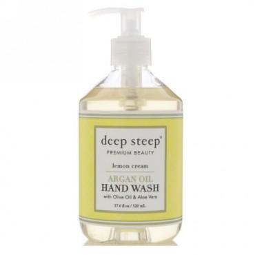 Deep Steep, アルガンオイルヘッドウォッシュ、レモンクリーム、17.6液量オンス (520 ml) (Discontinued Item)