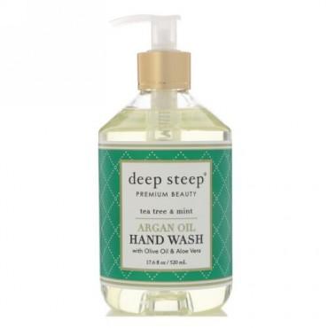 Deep Steep, Argan Oil Hand Wash, Tea Tree & Mint, 17.6 fl oz (520 ml) (Discontinued Item)
