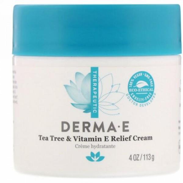 Derma E, ティーツリー&ビタミンEリリーフクリーム、113 g