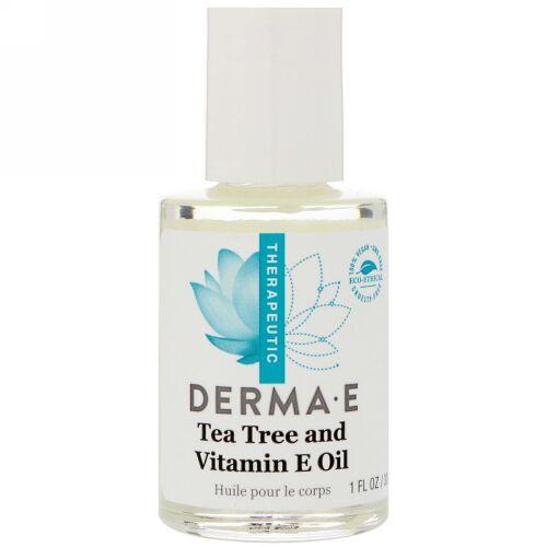 Derma E, ティーツリーとビタミンEオイル、1 fl oz (30 ml) (Discontinued Item)
