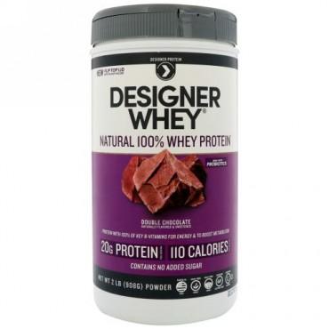 Designer Protein, デザイナーホエイ、100%天然ホエイタンパク質、ダブルチョコレート、2 lbs (908 g) (Discontinued Item)