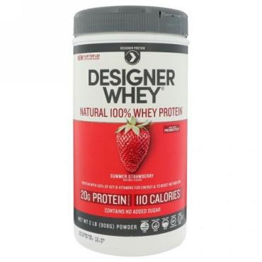 Designer Protein, デザイナーホエイ, 天然100%ホエイタンパク質, サマーストロベリー, 2 lbs (908 g) (Discontinued Item)