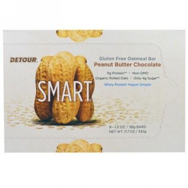 Detour, グルテンフリー・オートミール・バー、ピーナッツバター・チョコレート、9本、各1.3オンス(38g) (Discontinued Item)
