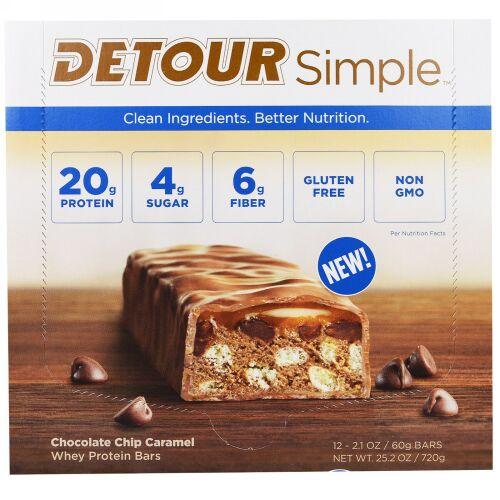 Detour, シンプル、ホエイ・プロテインバー、チョコレートチップ・キャラメル、12本、各60g(2.1オンス) (Discontinued Item)