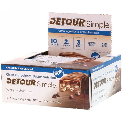Detour, シンプル、ホエイ・プロテインバー、チョコレートチップ・キャラメル、9本、各30g (Discontinued Item)