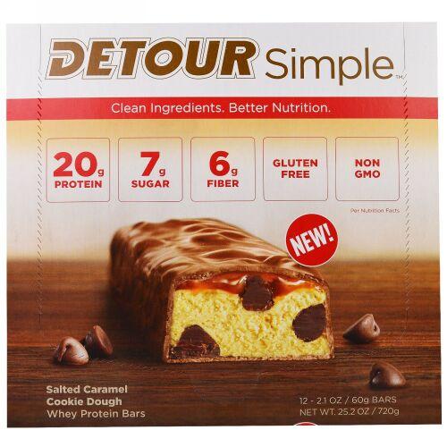 Detour, シンプル、ホエイ・プロテインバー、ソルテッド・キャラメルクッキードウ、12本、各60g(2.1オンス) (Discontinued Item)