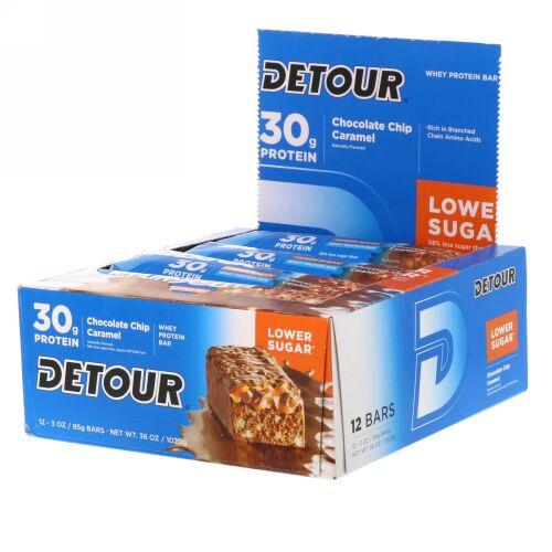 Detour, ホエイタンパク質バー、 チョコレートチップキャラメル、 12本、 各3オンス (85 g) (Discontinued Item)