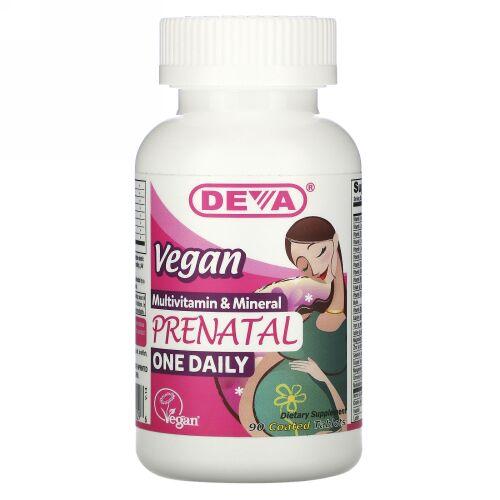 Deva, Vegan Prenatal Multivitamin & Mineral, One Daily, 90 Coated Tablets