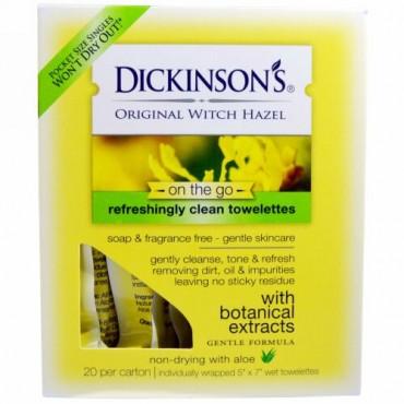 """Dickinson Brands, どこでもウィッチヘーゼル, リフレッシュできるきれいなトイレ, 1箱20個入り, 各サイズ5"""" x 7"""""""