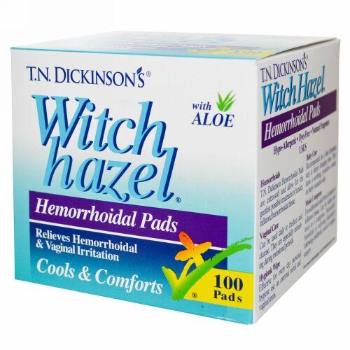 Dickinson Brands, T.N. Dickinson ウィッチ ヘーゼル 痔疾患パッド, ウィズアロエ, 100パッド