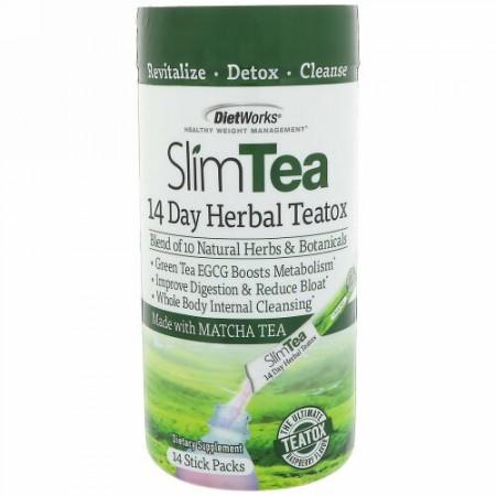 DietWorks, スリムティー、14日間ハーブ・ティートックス、抹茶、ラズベリー風味、スティックパック14個入り