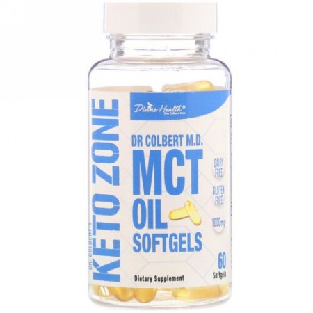 Divine Health, Dr. Colbert's Keto Zone, MCT Oil Softgels, 1,000 mg, 60 Softgels (Discontinued Item)