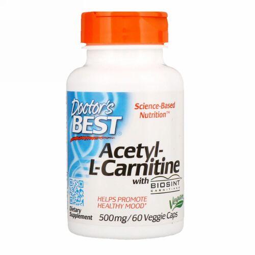 Doctor's Best, Biosintカルニチン入りアセチルLカルニチン, 500 mg, ベジキャップ60錠