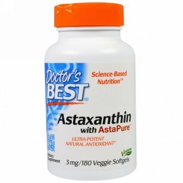 Doctor's Best, アスタピュア入りアスタキサンチン、3 mg、ベジソフトジェル180錠 (Discontinued Item)