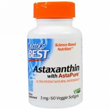 Doctor's Best, アスタピュア入りアスタキサンチン、3 mg、ベジソフトジェル60錠 (Discontinued Item)