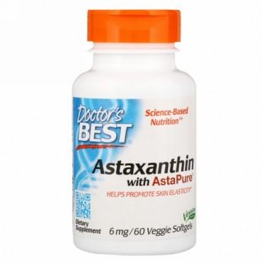Doctor's Best, アスタピュアを含むアスタキサンチン、6 mg、ベジソフトジェル60錠 (Discontinued Item)