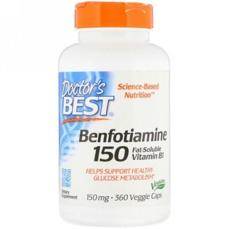 Doctor's Best, ベンフォチアミン、150mg、植物性カプセル360粒