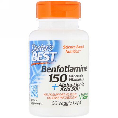 Doctor's Best, ベンフォチアミン150+α-リポ酸300、ベジカプセル60粒