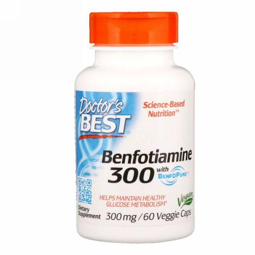 Doctor's Best, ベンフォピュア配合ベンフォチアミン、300 mg、植物性カプセル60粒