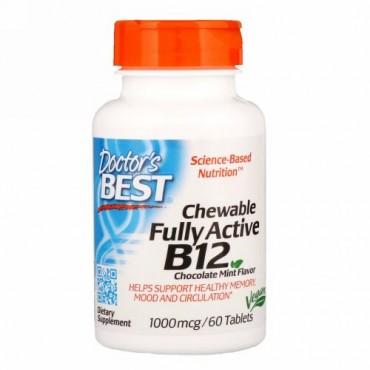 Doctor's Best, 完全活性ビタミンB12配合チュアブル、チョコレートミント、1000mcg、60錠