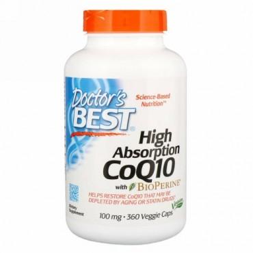 Doctor's Best, 吸収性が高いCoQ10(バイオペリン配合)、100 mg、植物カプセル360粒
