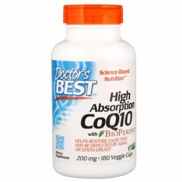 Doctor's Best, バイオペリン配合の高吸収コエンザエムQ10, 200 mg, 180粒(ベジタリアンカプセル)
