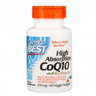 Doctor's Best, バイオペリン入り高吸水性コエンザイムQ10、200 mg、ベジソフトジェル60錠