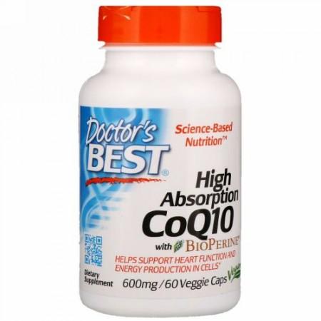 Doctor's Best, BioPerine(バイオペリン)配合高吸収性コエンザイムQ10、600mg、ベジキャップス60粒