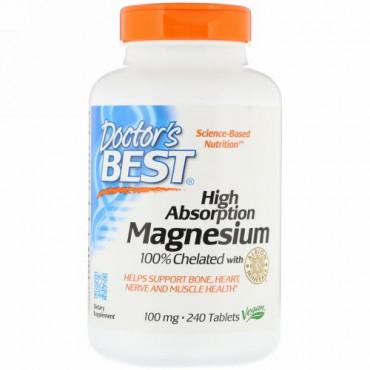 Doctor's Best, 高吸収マグネシウム100%キレート化アルビオンミネラル配合、100 mg、240錠