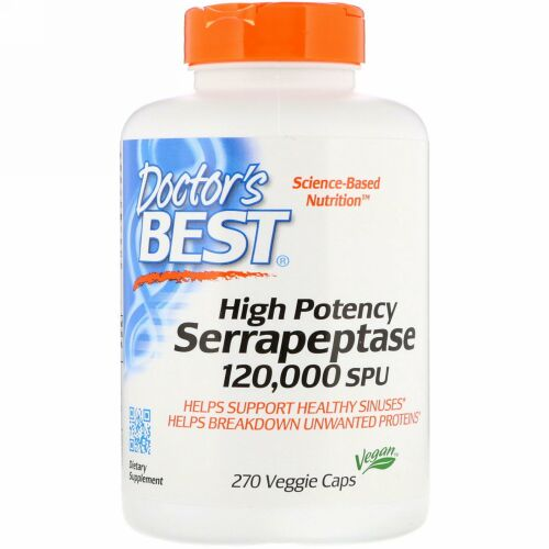 Doctor's Best, 効力の強いセラペプターゼ、120,000 SPU、植物性カプセル270粒