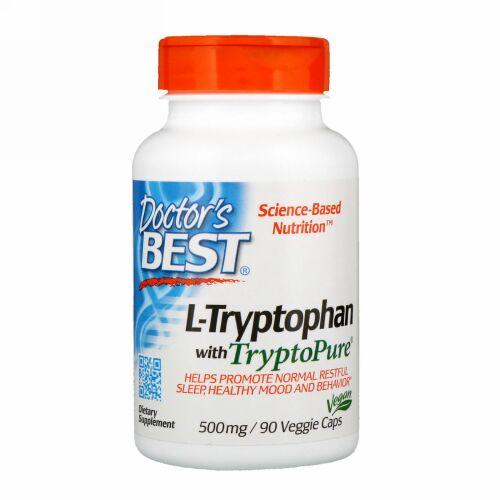 Doctor's Best, TryptoPure(トリプトピュア)入りL-トリプトファン、500 mg、植物性カプセル90粒
