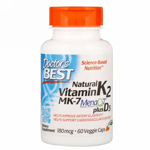 Doctor's Best, ナチュラルビタミンK2 MK-7、MenaQ7プラスビタミンD3配合、180 mcg、植物性カプセル60錠