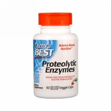 Doctor's Best, タンパク質分解酵素、遅延放出型ベジキャップ90錠