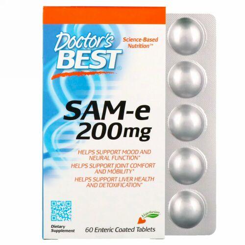 Doctor's Best, SAM-e、200 mg、60腸溶性コーティング錠