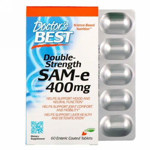 Doctor's Best, SAM-e、ダブルストレングス、400 mg、60腸溶性コーティング錠剤