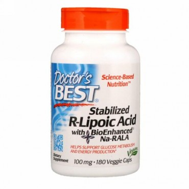 Doctor's Best, 生体強化済Na-RALA配合調整済R-リポ酸、100 mg、180ベジカプセル