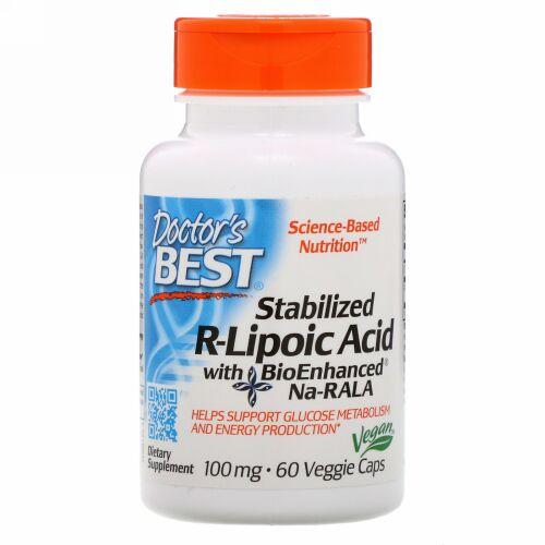 Doctor's Best, Best Stabilized R-Lipoic Acid、100 mg、植物性カプセル 60粒
