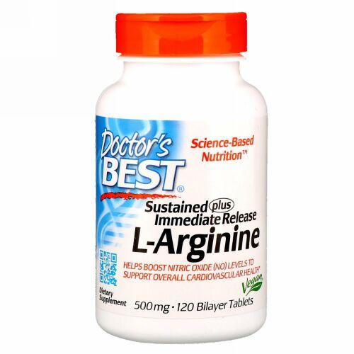 Doctor's Best, 持続プラス短時間リリース L-アルギニン、500 mg、120二重構造錠剤