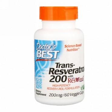 Doctor's Best, レスビノール配合トランスレスベラトロール200、200mg、ベジカプセル60粒