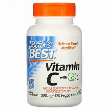 Doctor's Best, ビタミンC、Quali-C配合、500mg、ベジキャップ120錠